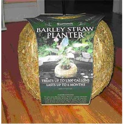 Summit Chemical Company Presents Summit Pond Barly Straw Planter Barley Mini 3oz 3-1/4'x 6' X Treats 500gal for 6 Months. Treats 1000-1500 Gallons 5&quot; X 8&quot; X 8&quot; Clear Ponds Inconspicuously with these Natural-Looking Planters Constructed of Barley Straw Showcase Beautiful Plants with no Danger of Koi Nibbling Safe for Fish &amp; Plants Improve your Water Quality with this Attractive, Floating Planter. Barley Straw Planters Act as a Natural Filter, Keeping the Water in your Pond Clean and Clear, Fashioned into a Showcase for Houseplants or Other Non Submersible Species. Won't Harm Fish or Plants, and Treats Pond for 6 Months. [32783]