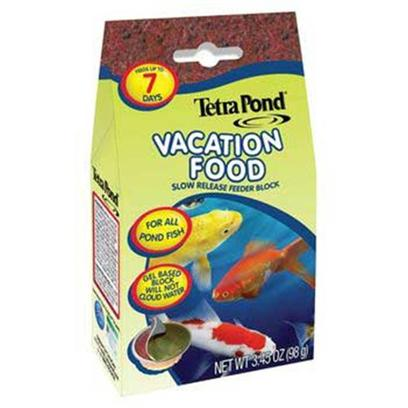 Tetra Usa Presents Tetra Pond Vaca Food Vacation Slow Release Feeder Block 3.45oz. Slow Release Feeder Block for Pond Fish. Keep Peace of Mind when Traveling with our New Tetrapond Vacation Food. The Gel-Based Block will Feed all Pond Fish for Up to Seven Days without Clouding Water. 3.45 Oz [32953]