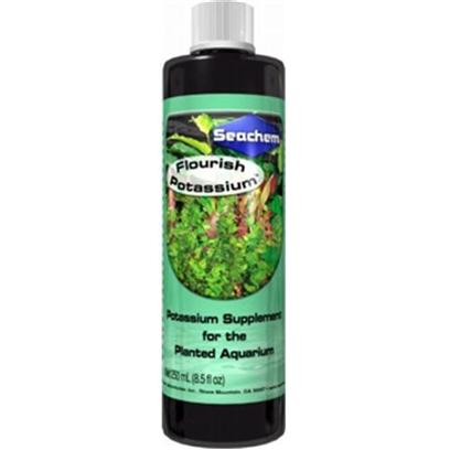 Seachem Laboratories Presents Seachem Flour Potassium Flourish Plant Supplement 100ml. Flourish Potassium™Contains 50,000 Mg/L of Potassium Suitable for the Natural Planted Aquarium. Potassium is One of Several Elements that are Vitally Important to Maintaining a Vigorous Level of Growth in a Planted Aquarium. Potassium can Become Depleted in a Rapidly Growing System or when the Source Water has a Low Mineral Content. In these Cases Potassium Could Become the Limiting Factor to Growth. Use Flourish Potassium™ to Prevent Potassium Depletion (Signs of which Include Yellowing in Older Leaves) and Maintain the Highest Level of Growth. [33211]