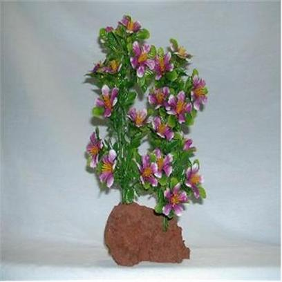 "Rocky Mountain Plants Presents Rocky 2 Color Lava Plant #Wf-4 Double Medium 9-10' on Rock. Mounted on Solid Weighted Bases Make these Plants Suitable for the Aquarium or Terrarium. Green Eel Grass 12""-13"" on White Rock. 9""-10"" [33375]"