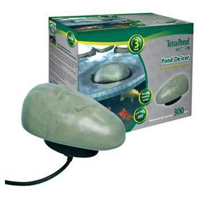 Tetra Usa Presents Tetra Pond de-Icer 300watt. The Tetrapond Winter Survival Solution for Fish. Toxic Gases Caused by Decaying Matter and Fish Waste can Become Trapped under the Ice. Tetrapond de-Icer Keeps an Area of the Pond Ice-Free. Features Releases Harmful Pond Gases. Energy-Efficient Thermostat Control Shuts off Power when not Needed. Effective to -20f (-18c) 15 Foot Electrical Cord Three Year Limited Warranty 300 Watts [33489]