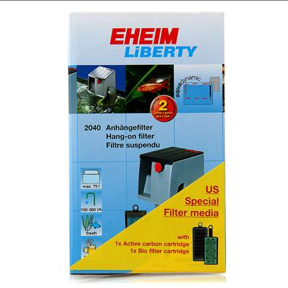 Eheim Presents Eheim Filter Liberty #2042 Power 200gph Tanks to 50gal. The Hang-on Series of Liberty Filters are Compact, Complete, and Powerful. Liberty Combines Ease of Handling with Effective Filtration Via Mechanical, Biological, &amp; Adsorbtive Means. 3-D Cartridge Technology Doubles Effective Surface Area. Phenol Free Foam Blocks Guarantee Reliable Removal of Solved Pollutants. Tanks to 50gal 175gph Includes 3-D Carbon Cartridge &amp; Foam Bio Block 1.6lbs [33622]