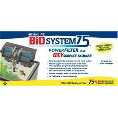 Imagine Gold Presents Imagine Gold (Img) Bio Power Filter with/Skimmer Up to 75 Gallons. Imagine Announces the Most Significant and Innovative Breakthrough in Aquarium Filtration Technology.....The Bio System Power Filter -Plus- Oxy Surface Skimmer Pumps 350 Gph for Use Up to a 75 Gallon Tank Removes Organic Film and Dust from the Water Surface Delivers Oxygen Rich Surface Water to the Filter which Enhances the Growth of Nitrifying Bacteria a Special Skimmer Valve also Allows Water Intake from the Middle and Bottom of the Aquarium Provides Complete Water Circulation and Filtration for Freshwater or Marine Aquariums Includes 4 Bio 3 Filter Cartridges [33627]