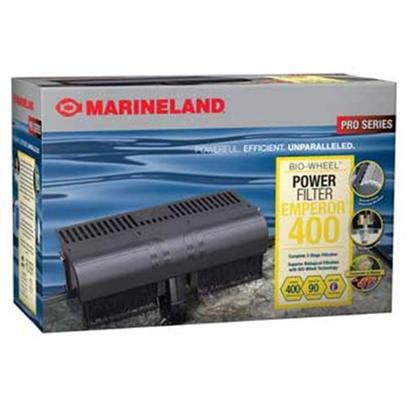 Marineland Presents Marineland (Ml) Emperor Filter (New) 400 Power (New &amp; Improved). Emperor Filter Systems are Advanced Aquarium Technology at its Finest. With a Revolutionary Two-Pump Design, Flow and Filtration Efficiencies of the Emperor's are Unmatched by Other Filters in their Class. Featuring as Much as Twice the Filter Cartridge Capacity, Additional Chemical Filtration Capability, and Extra Large, Spray Bar-Driven Bio-Wheel Wet/Dry Biological Filtration, Emperor Filter Systems Offer the Aquarist a Filtration System that can Stand Up to any Aquarium they can Dream Of. Certified Flow Rate of 400 Gph, Perfect for all Aquariums Up to 80 Gallons. Uses One Rite-Size &quot;E&quot; Filter Cartridge. [33635]