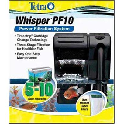 Tetra Usa Presents Tetra Whisper Power Filter Pf10. The New Upgraded Whisper Power Filter. Three-Stage Filtration for Healthier Fish. Retains Entry Level Price Point Due to Sensitivity on Small Aquariums. Hinged Lid for Improved Ergonomics / Ease of Use  Improved Compact Aesthetic Design Timestrip Indicators and Packaging Upgrade for 5 - 10 Gallon Aquariums [33644]