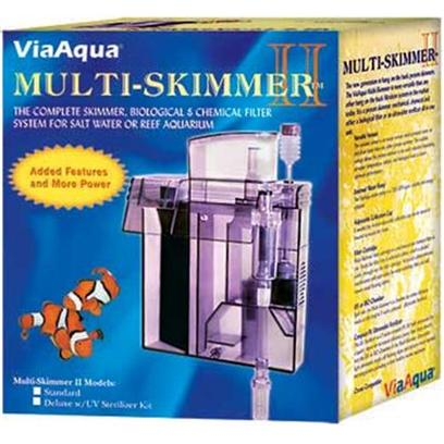 Commodity Axis Presents Com Multi Skimmer Viaqua Hangon Multi-Skimmer. The Viaaqua Multi-Skimmer Ii is a Protein Skimmer, Mechanical, Chemical and Either a Biological Filter or an Ultraviolet Sterilizer all in a Perfect Single Unit. It is Ozone Compatible and has Adjustable/Variable Venturi with an Exclusive Air/Water Mixing Chamber and an Adjustable Cup. Designed to Work with Aquariums Up to 80 Gallons. Simple Installation &amp; Compact Design Adjustable/Variable Venturi with an Exclusive Air/Water Mixing Chamber External Water Pump 200 Gph Adjustable Collection Cup Built-in Biological or Uv Sterilizer (Optional) Chamber. Ozone Compatable Filter Cartridge with Activated Carbon for Aquariums Up to 80 Gallons Added Features Surface Skimmer 12.5'l X 7'w X 16'h [33729]