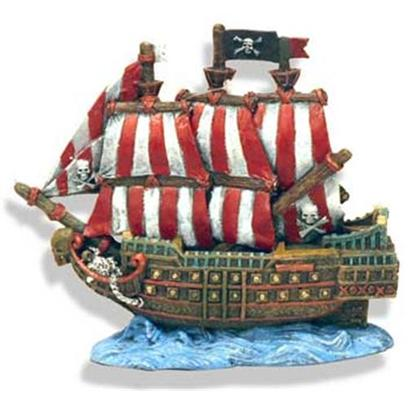 Blue Ribbon Presents Blue Ribbon (Br) Caribbean Pirate Ship Carribean. Caribbean Pirate Ship Small - Red & White Striped Sails 6 X 3.5 X 5.5 [33882]