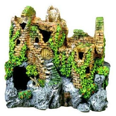 "Blue Ribbon Presents Blue Ribbon (Br) Forgotten Ruin #110. ""Authentic Castle Ruin, Hand-Painted in Realistic Detail ""Featuring Large Swim-through Chambers which Fish Love to Explore 7.5 X 5.5 X 7.0 1 [33903]"