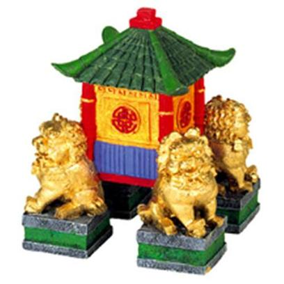 Blue Ribbon Presents Blue Ribbon (Br) Garden Pagoda with Fu Dogs. Authentically Hand-Crafted Pagoda Replica of Northern China with Golden Fu Dogs .Hand-Painted in Stunning True-to-Life Detail. Safe for all Aquariums. 3 X 3 X 4 1 [33916]
