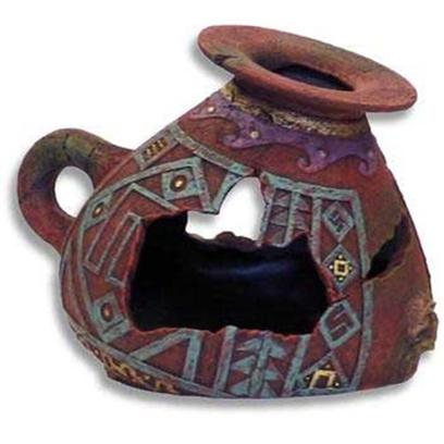 Blue Ribbon Presents Blue Ribbon (Br) Incan Vase Large. Original Designs Crafted and Hand-Painted in Authentic Detail and Texture. Featuring Swim-through Chambers, Safe for all Aquariums and Terrariums. 5.75 X 4.75 X 4.25 [33929]