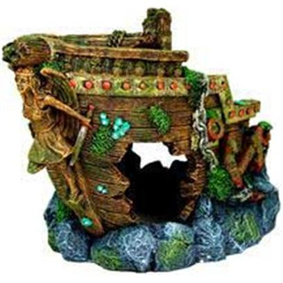 Blue Ribbon Presents Blue Ribbon (Br) Jumbo Bow Shipwreck Resin Ornament-Jumbo. Ideal for Aquariums &amp; Terrariums. Large Swim through Holes. [33933]