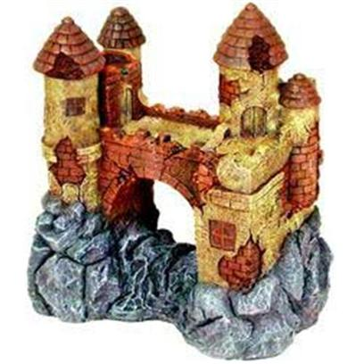 Blue Ribbon Presents Blue Ribbon (Br) Jumbo Castle with Bridge Resin Ornament-Jumbo. Ideal for Aquariums & Terrariums. Large Swim through Holes. [33935]