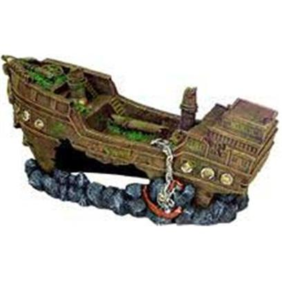 Blue Ribbon Presents Blue Ribbon (Br) Jumbo Shipwreck Resin Ornament-Jumbo. Ideal for Aquariums &amp; Terrariums. Large Swim through Holes. [33942]