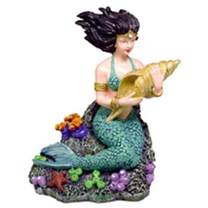 Blue Ribbon Presents Blue Ribbon (Br) Mermaid with Seashell Small. &quot;This Beautifully Detailed Mermaid, Sits Among a Colorful Array of Exotic Sea Life. &quot;Hand-Crafted in Realistic Detail and Safe for all Aquariums 3 X 3.5 1 [33966]