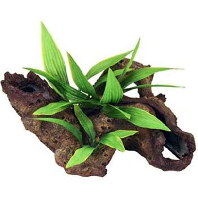 Blue Ribbon Presents Blue Ribbon (Br) Mopani Wood Silk Plants Resin Ornament-Mopani with Small (Sm). Mopani Wood with Plants Small - Exotic Mopani Driftwood Creates a Dramatic Two-Toned Look with the Addition of Floral Greenery, Perfect for your Colorful Aquarium or Terrarium. Provides the Natural Look of Real African Wood without the Worry of Contaminants. Long Hollow Tunnels Provide Safety and Cover. [33988]