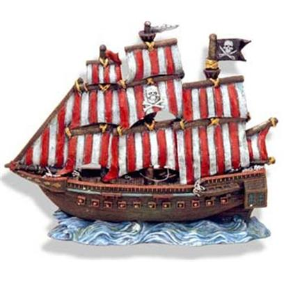 Blue Ribbon Presents Blue Ribbon (Br) Pirate Clipper Ship Resin Ornament-Pirate. Pirate Clipper Ship Large - Red & White Striped Sails 10 X 4.5 X 10 [34011]