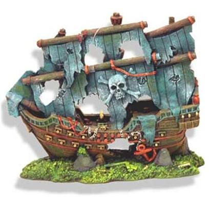 Blue Ribbon Presents Blue Ribbon (Br) Pirate's Ghost Ship Resin Ornament-Pirate's. Pirate's Ghost Ship W/Battered Grey Sails 8 X 4.5 X 7 [34012]
