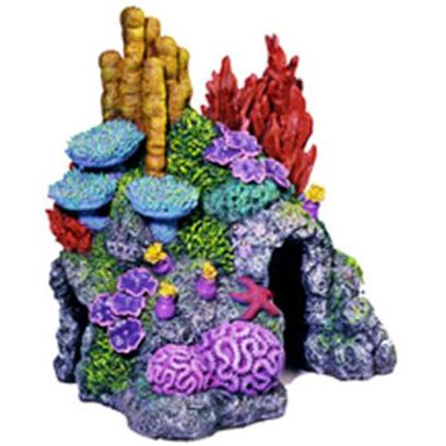 Blue Ribbon Presents Resin Ornament-Red Sea Coral Hideaway X-Small. &quot;This &quot;Flat-Back&quot; Red Sea Replica Features Aeration Holes and 2 Large Swim-through Chambers - Realistic Detail, Featuring an Colorful Array of Exotic Sea Life&quot;Hand-Painted and Produced from Safe and Durable Poly-Resin. 6.0 X 5.0 X 6.5 1 [34019]