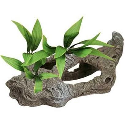 Blue Ribbon Presents Resin Ornament-Rock Tunnels with Silk Plants Rock. Rock Tunnel with Plant-B - Rock Like Tunnels Adorned with Floral Greenery Provide Safety and Cover for your Living Inhabitants. The Bent and Twisted Shaped Walls will Compliment any Natural Looking Aquarium. [34023]