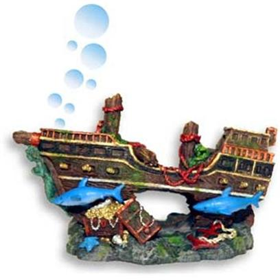 Blue Ribbon Presents Resin Ornament-Pirate Shipwreck with Sharks Bubbler Pirate. Pirate Shipwreck Bubbler with Sharks & Treasure Chest - Airline Connector Included 5.5 X 2.75 X 3.25 [34036]