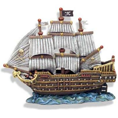 Blue Ribbon Presents Blue Ribbon (Br) Skull &amp; Crossbones War Ship Resin Ornament-Skull. Skull &amp; Crossbones War Ship Ready for Battle 12 X 5 X 10 [34038]
