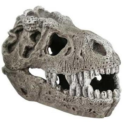 Blue Ribbon Presents Resin Ornament-T-Rex Skull Large. T-Rex Skull Small - a Boney Skull Replica of the Villainous T-Rex. This Daunting Predator's Remains will Make your Tank Look Like it's Right out of the Cretaceous Period. Is it Real? Looks that Way, but They'll Never Know! Provides a Great Place for Fish to Explore. [34052]