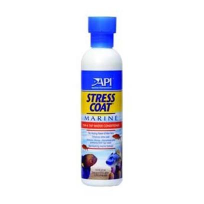Aquarium Pharmaceuticals Presents Aquarium Pharmaceuticals (Ap) Stress Coat Marine 16oz. Fish &amp; Tap Water Conditioner that Removes Chlorine, Chloramines and Ammonia from Tap Water and Contains the Healing Power of Aloe Vera. Fish &amp; Tap Water Conditioner that Removes Chlorine, Chloramines and Ammonia from Tap Water in a Marine Tank. Stress Coat Marine is the only Marine Water Conditioner with the Healing Power of Aloe Vera. Developed for Use with a Protein Skimmer so it will not Cause Foaming. [34227]