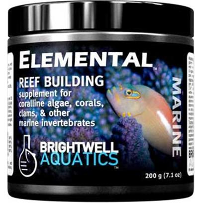 Brightwell Aquatics Presents Brightwell Aquatics (Bwell) Elemental Dry Reef Building Complex 1.7lb 800gm. • Complete Source of the Elements and Molecules Directly Used by Corals, Clams, and Other Reef-Building Invertebrates and Organisms to Create Skeletal Material and Grow. • Provides Calcium, Strontium, Magnesium, and Potassium in Approximately the Same Ratios in which they Occur in Aragonite, the Mineral that is Primarily Secreted by Reef-Building Marine Organisms under Normal Environmental Conditions. • Very Strong Source of Carbonates, also Involved in Aragonite Formation; Twice the Calcium Relative to Carbonates Compared to Natural Aragonite. • Formulated by a Marine Scientist. Powder 200-G [34269]