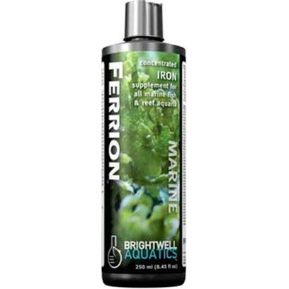 Brightwell Aquatics Presents Brightwell Aquatics (Bwell) Ferrion Liquid 8.5oz/250ml.  Highly-Concentrated and Stable Iron Solution for Supplementing Aquaria Containing Hermatypic Organisms (I.E. &quot;Photosynthetic&quot; or Zooxanthellate Corals, Clams, and their Allies), Macroalgae, Coralline Algae, Mangroves, Marsh Grasses, and Other Desirable Marine Algae and Plants.  Particularly Suited to Systems Outfitted with a Refugium or Mud System.  Stronger than Most Competing Products.  Composed of Purified Water and Ultra-High Purity Materials.  Formulated by a Marine Scientist. Liquid 250-Ml [34273]