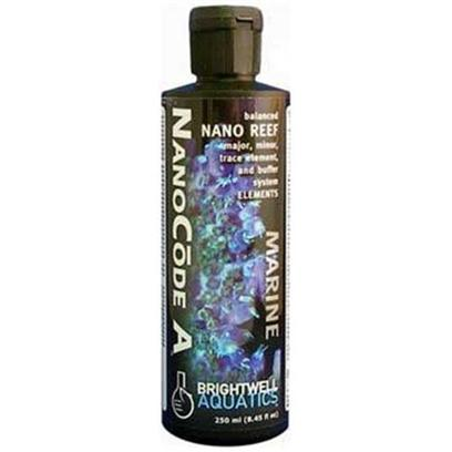 Brightwell Aquatics Presents Brightwell Aquatics (Bwell) Nanocode a Liquid Part B-17oz/500ml. Part of a Complete System for Simplifying and Maintaining Proper Water Chemistry in Very Small (Nano) Reef Aquaria. Nanocode a Provides Calcium, Potassium, and Strontium in Aragonite Ratios, Enhanced Magnesium (Relative to Aragonite Ratios), and Non-Conservative Minor and Trace Elements in Natural Seawater Ratios. Used in Conjunction with Nanocode B, Promotes Stable Water Chemistry and Improves the Rate of Biogenic Aragonite Formulation. Contains no Phosphate, Silicate, Organic Materials. Iodide in not Present as it is Unsuitable for Indiscriminate Dosing. [34299]