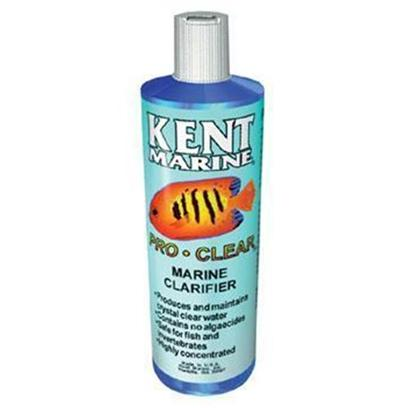 Kent Marine Presents Kent Marine (Kent) Pro Clear Marine Clarifier 16oz. Kent Marine Pro-Clear Marine Clarifier Clears Cloudy Water from Water Changes, Chemical Reactions and Disturbed Detritus. Quickly Attracting these Particles so they can be Easily Filtered out or will Settle to the Aquarium Bottom. [34437]