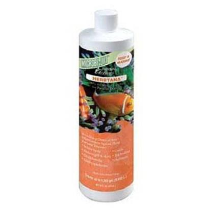 Ecological Labs (Microbe-Lift) Presents Mic Herbtana Saltwater 16oz. 100% Natural Expellant for Parasitic Diseases Provides a Chemical-Free Treatment Effective Against these Parasitic Diseases White Spot (Ich) Costia Flukes (Gill &amp; Skin) Trichodina Chilodonella Oodinium Supports the Fish's Immune System, Driving off the Excess Parasites. Since they Cannot Return to the Fish During Treatment, the Majority of the Parasites will Starve without a Host. This Product is Intended for Use with all Ornamental and Aquarium Fish only, and may not be Used for Fish Intended for Human Consumption. [34483]