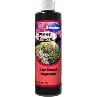 Seachem Laboratories Presents Seachem Reef Trace 500ml. Trace Element Supplement for Reef Aquariums Contains Important Trace Elements Vital for Healthy Coral Growth Simplifies Reef Aquarium Care by Replenishing Depleted Trace Elements Maintain Proper Level of Essential Trace Elements in your Reef Aquarium. Many Important Trace Elements are Used or Rapidly Depleted by Various Chemical Processes in a Reef Aquarium; Elements Important for the Long-Term Growth and Health of Corals and Invertebrates. Reef Trace Replenishes these Elements Quickly and Completely. Reef Trace is Nitrate and Phosphate Free. For Best Results, Use in Conjunction with Reef Plus. [34586]