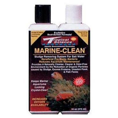 Tropical Science Labs Presents Tr Sci Marine Clean 16oz. Salt Water / Reef Formulation Quickly and Naturally Removes Excessive Bio-Pollutants Increasing Precious Oxygen Availability and Maximizing Water Quality and Clarity. Available in 8 Oz., 16 Oz., and 1 Gallon. [34641]