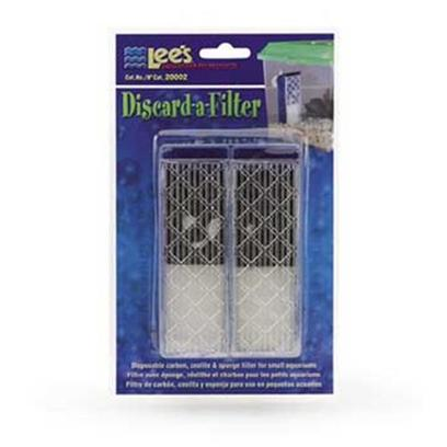 Lee's Presents Lees Discard a Filter Discard-a-Filter 2/Blister Card. The Filter Consists of Carbon, Zeolite and Foam. The Carbon and Zeolite Help to Keep the Water Crystal Clear, while the Foam Filters out Free Floating Particulate. The Filter Attaches Securely to the Back (or Side) of the Tank with Suction Cups. Perfect for Mini Aquariums, Kritter Keepers or Even Large Fish Bowls. Perfect for Mini Aquariums, Kritter Keepers and Even Large Fish Bowls. This Economical New Concept in Mini Filtration Offers the Consumer the Ability to Discard the Entrie Filter Each Month and Replace it with a New Filter. The Filter Consists of Carbon, Zeolite and Foam. Carbon and Zeolite Help to Keep the Water Crystal Clear. The Foam Filters out Free Floating Particulate. Filter Attaches Securely to the Back (or Side) of the Tank with Suction Cups. [34658]