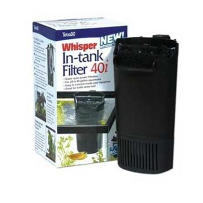 Tetra Usa Presents Tetra Whisper in Tank Filtrt 40 Filter. For the Ultimate in Convenience and Quiet, Choose a Whisper in-Tank Filter. These Filters Mount on the Inside of the Aquarium, Making it Possible to Place the Tank Flush Against a Wall. The in-Tank Filter will Function in as Little as 2 Inches of Water, Making it Ideal for Terrariums, or for Creating a Waterfall. The in-Tank Filter Adjusts Easily to High or Low Water Levels with Mounting Suction Cups and or Bracket. The Placement of the Filter Inside the Tank and its Uniquely Shaped Discharge Eliminate Practically all Noise During Operation. It Truly is the &quot;Silent Filter&quot;. Pumps 170 Gph, Designed for Aquariums Holding Up to 20-40 Gallons of Water [34691]