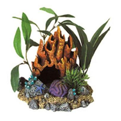 Blue Ribbon Presents Blue Ribbon (Br) Fire Coral Cave with Plants. &quot;A Natural Hand-Crafted Coral Replica, Artistically Arranged with Artifcial Plants&quot;Coral Florals Series are Safe for all Freshwater and Marine Aquarium 5 X 4.5 X 4.5 1 [34711]
