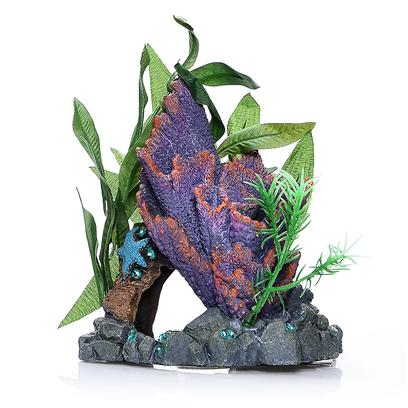 "Blue Ribbon Presents Resin Ornament-Purple Ridge Coral Cave with Plants Purple. ""A Natural Hand-Crafted Coral Replica, Artistically Arranged with Artifcial Plants""Coral Florals™ Series are Safe for all Freshwater and Marine Aquarium 5.5 X 4 X 5.5 1 [34716]"
