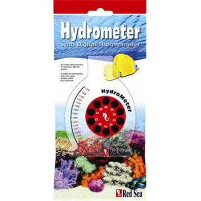 "Red Sea Fish Pharm Presents Red Sea Hydrometer with Therm Digital Thermometer. The Unique, Patented Design of Red Sea's Hydrometer Enables it to be Installed Inside the Aquarium or Sump. Giving a Continuous ""Real Time"" Reading of Specific Gravity. In Addition it can be Used as a Typical Hydrometer for Periodic Measurements. Includes a Digital Thermometer to Insure Tested Water is at Correct Temperature. [34790]"