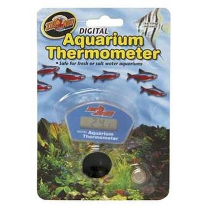 Zoo Med Laboratories Presents Zoo Digital Aqua Thermometer Aquarium. Easy to Read Digital Aquarium Thermometer. Waterproof; Completely Submersible. Wide Temperature Operating Range. Safe for Fresh or Salt Water Aquariums. [34798]