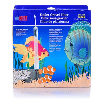 Lee's Presents Lees Original Undergravel Filter 40/55gallon. A Trouble-Free Biological Filter Designed with Adjustable 1' Dia. Uplift Tubes for Better Water Circulation and Multi-Plate Construction for Easy Installation. Includes Airline Tubing and Discard-a-Stone and Features the Fish-Saver Elbow. Advanced Design Allows a Separate Plate Installation and also has Optional Flow-Thru Set-Up for Use with a Power Head. Made of Special Quality Plastic which Resists Splitting and Cracking. Available in Three Different Styles to Fit Rectangular, Hexagonal, Octagonal, and Flatback Aquariums. [34864]