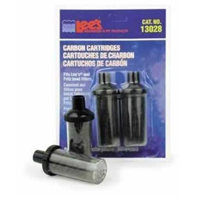 Lee's Presents Lees U.G. Carbon Cartridge Fishbowls 2 Pack. Ready to Use, Filled with Floss and Carbon. Keeps Bowl Sparkling Clean. Size Fits 1/2' Uplift Tube Packaging Blister Card [34872]