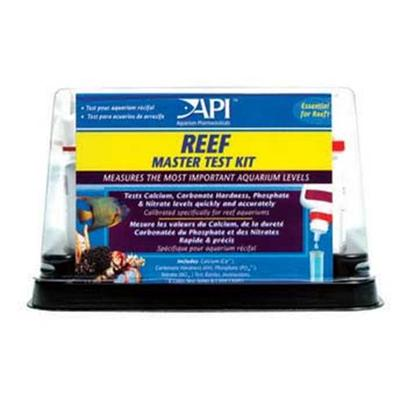 Aquarium Pharmaceuticals Presents Aquarium Pharmaceuticals (Ap) Reef Master Test Kit. Api's Reef Master Test Kit Measures the Most Important Aquarium Levels in a Reef Aquarium. 4 Different Tests Calibrated Specifically for Reef Aquariums are Designed to Protect Reef-Dwellers from Dangerous Water Conditions. Tests Include Calcium, Carbonate Hardness (Kh), Phosphate & Nitrate), 4 Test Tubes, Tray. N/A [35114]