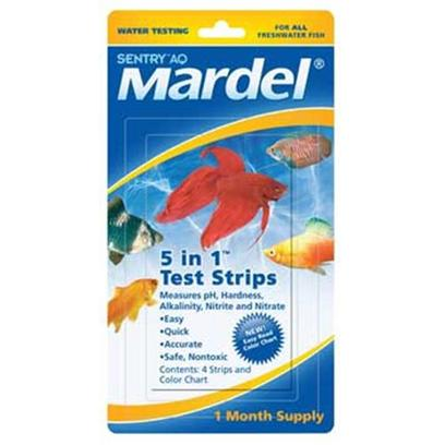 Virbac Presents Mardel 5 in 1 Test Strips-Freshwater/Saltwater 4piece. Mardel's 5-in-1dip & Read Test Strips Test Fresh or Saltwater for Five Important Water Quality Indicators Ph, Hardness, Alkalinity, Nitrite and Nitrate. Use these Strips on their Own, or as Refills for your Mardel Master Test Kit. 4 Pc [35143]