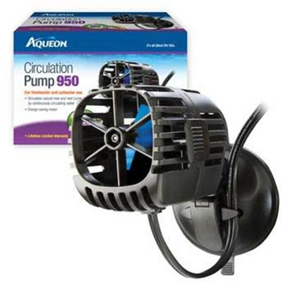 Aqueon Presents Aqen Circulation Pump Aqueon 950 a/C. Aqueon Circulation Pumps Simulates Natural River and Reef Currents by Continuously Circulating Water. Special Features Easy-Lock Suction Cup Makes Installation Adjustments and Removal a Snap Convenient Cord-Holding Clips on Both Sides Allow for Positioning Anywhere Energy-Efficient Motor and Impeller Increase Water Movement with Less Power Ul Listed [35246]