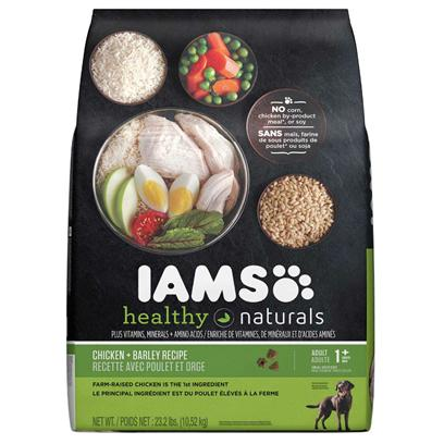 P&amp;G Presents Iams Healthy Naturals Dry Dog Food Lamb &amp; Rice 15.5lb Bag. Iams' Healthy Natural Dog Food is an Excellent Choice when it Comes to Selecting the Best Food for your Pet. The all-Natural Contents of this Meal Make it a Top Choice Among Discerning Dog Owners Since it Helps Pets Gain Lustrous Coats and Healthy Bodies. Packed with all the Nutrients Needed to Boost his Immune System, You'll Never Go Wrong Serving this as your Pet's Meal. Healthy Natural Dog Food from Iams is a Fine Way to Ensure your Dog's Health in a Delectable Manner. Iams Dog Healthy Natural Lamb &amp; Rice 15.5lb Primary Protein Source Lamb Primary Carb Source Lamb Analysis Crude Protein (Min ) 22% Crude Fat (Min) 12% Crude Fiber (Max) 4% Moisture (Max) 10% Iams Dog Healthy Natural 35lb, Iams Dog Healthy Natural 15.5lb Primary Protein Source Chicken Primary Carb Source Chicken Analysis Crude Fat not Less Than15.00% Moisture not More Than10.00% Omega-3 Fatty Acids not Less than 0.25% Crude Protein not Less Than26.00% Crude Fiber not More Than4.00% Omega-6 Fatty Acids not Less than 2.50% [35371]