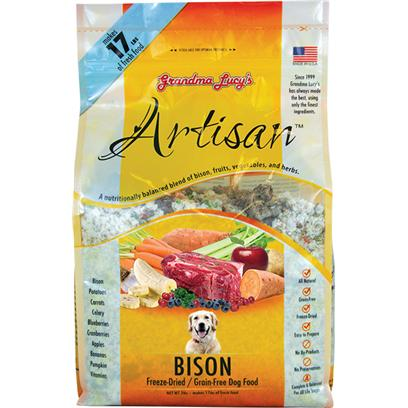 Grandma Lucy's Presents Grandma Lucy's Artisan Grain Free Dry Dog Food-Bison 3lb Bag. Grandma Lucy's Artisan Grain-Free Dog Food is a Complete and Balanced Meal Formulated to Keep Up with your Pet's Nutrient Needs. Designed to Meet the Nutrition Profile Set by the Aafco, Grandma Lucy's Artisan Food is a Sure Way to Give your Pet the Dietary Care he Needs. As a Grain-Free Meal, this Food is Safe and Healthy for Digestion and is Free from Allergens. Plus it is Available in Many Great Flavors Like Chicken, Lamb, Pork, Venison and Bison. For a Great Meal that's Rich in Protein, Grandma Lucy's Artisan Grain Free Dog Food is a Fine Choice that your Pet will Surely Enjoy. [35420]