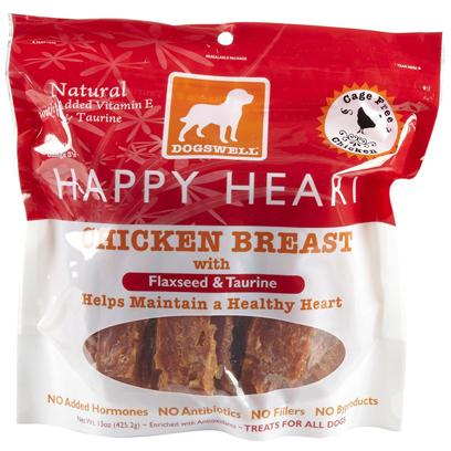 Dogswell Presents Happy Heart Jerky Treats-Chicken 5oz. Dogswell's Happy Heart Chicken Treats are a Fantastic Way to Give your Dog the Nutrients he Needs while Simultaneously Satisfying his Taste Buds. Made from all-Natural Chicken Breast, Happy Heart Chicken Treats are Both Rich in Protein and Low in Fat to Keep your Dog Extra Healthy. Using Other Natural Ingredients Such as Flaxseed Oil, Taurine, Turmeric, Cinnamon and Dandelion, Happy Heart Chicken Treats are Designed to Help Prevent Heart Disease. Show all your Love to your Precious Pet by Giving Him the Tasty and Nutritious Snack of Dogswell's Happy Heart Chicken Treat.Happy Heart Chicken Treats 5oz, Happy Heart Chicken Treats 15oz Primary Protein Sourcechicken Analysiscrude Fat (Min)1.00%Crude Fiber (Max) 1.00%Omega 3 Fatty Acids (Min)0.05%Crude Protein (Min)78.00%Crude Fat (Max)3.00%Moisture (Max)16.00% [35424]