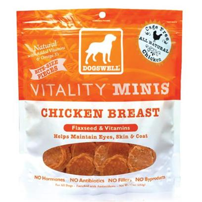 Dogswell Presents Vitality Minis-Chicken Jerky Dog Treats 15oz Bag. Chock Full of Vitamins, Antioxidants and Essential Minerals, Vitality Jerky Treats Give your Dog Exactly what he Needs for a Shiny Coat and Healthy Skin. Rich in Omega 3 and 6 Diefferent Fatty Acids from Flaxseed, it's Certain that with Continuous Feeding your Dog will be Happier and More Active. Our Product is not only Healthy, but its Great Taste will have your Pet Begging for More. Be More than Generous to your Adored Pet by Giving Him a Treat he Deserves. More Information- Comes in Chicken, Chicken Minis, Beef and Duck Varieties- Free of Hormones and Steroids- Made from all Natural Ingredients (Chicken Breast, Duck Breast, Beef Liver)Vitality Chicken Minis Treats 15oz Primary Protein Sourcechicken Analysiscrude Fat (Min)1.00%Crude Fat (Max)3.00%Crude Fiber (Max) 1.00%Moisture (Max)16.00%Crude Protein (Min)78.00% [35442]