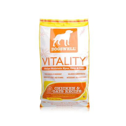 Dogswell Presents Dogswell Vitality Dry Dog Food 22.5lb Bag. Dogswell Vitality Chicken &amp; Oats Recipe Dry Dog Food Contains Fresh Chicken as the First Ingredient, Balanced Carbohydrates, Fresh Fruits and Vegetables, and Chelated Minerals. As an Added Benefit, we Add Omega 3 and 6 Fatty Acids and Vitamins a and E to Help Maintain your Dog's Healthy Skin and Shiny Coat. [35464]